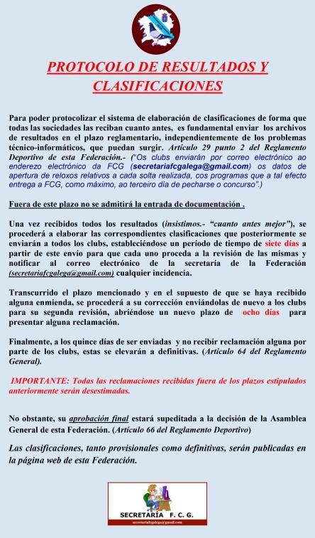 PROTOCOLO DE RESULTADOS Y CLASIFICACIONES